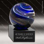 Tailwin Sphere Artistic Blue Accented Art Glass Sculpture Trophy Award Sales Trophy Awards