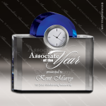 Engraved Crystal Desk Clock Blue Accented Night and Day Clock Trophy Award Sales Trophy Awards
