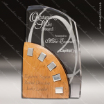 Acrylic Wood Accented Rustic Alder with Polished Aluminum Trophy Award Sales Trophy Awards