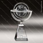 Crystal Silver Accented Omni Globe Trophy Award Sales Trophy Awards