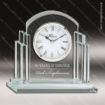 Engraved Jade Glass Desk Clock Silver Accented Arch Gift Award Sales Trophy Awards