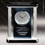 Engraved Blue Finish Desk Clock Silver Accented Pillar Gift Award Sales Trophy Awards