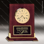 Engraved Rosewood Desk Clock Gold Accented Piano Finish Clock Award Sales Trophy Awards