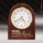 Engraved Rosewood Desk Clock Gold Accented Clock Award Sales Trophy Awards