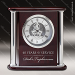 Engraved Rosewood Desk Clock Silver Accented Skeleton Clock Award Sales Trophy Awards