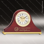 Engraved Rosewood Desk Clock Gold Accented Mantel Clock Award Sales Trophy Awards