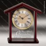 Engraved Rosewood Desk Clock Glass Gold Accented Home Steeple Award Sales Trophy Awards