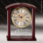 Engraved Rosewood Desk Clock Glass Gold Accented Arched Award Sales Trophy Awards