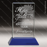 Crystal Blue Accented Rectangle Trophy Award Sales Trophy Awards