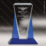 Crystal Blue Accented Diamond Stripe Trophy Award Sales Trophy Awards