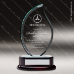 Macareno Blaze Glass Rosewood Accented Flame Trophy Award Sales Trophy Awards