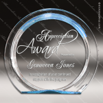 Acrylic Blue Accented Round Circle Halo Award Sales Trophy Awards