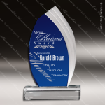Acrylic Blue Accented Cobalt Fan Cascade Trophy Award Sales Trophy Awards