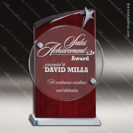 Glass Rosewood Accented Circle Silver Star Award Sales Trophy Awards