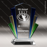 Machover Flair Glass Blue Accented Marquee Trophy Award Sales Trophy Awards