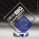 Machover Double Glass Blue Accented Double Diamond Trophy Award Sales Trophy Awards