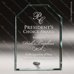 Pachello Crest Glass Jade Accented Clipped Rectangle Trophy Award Sales Trophy Awards