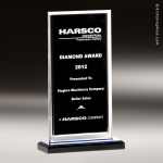Acrylic Black Accented Clear Edged Satin Award Sales Trophy Awards