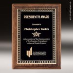 Walnut Stained Piano Finish Plaque with Brass Plate Sales Trophy Awards