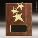Engraved Walnut Plaque Star Trio Wall Placard Award Sales Trophy Awards