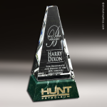 Crystal Green Marble Accented Varnell Summit Trophy Award Sales Trophy Awards