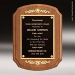 Walnut Plaque with Decorative Accents Sales Trophy Awards