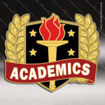 Lapel Pin - Academic Excellence Metal Chenille Letter Insignia Scholastic Lapel Chenille Pins