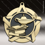 Medallion Super Star Series Scholastic Lamp of Knowledge Medal School Scholastic Medals