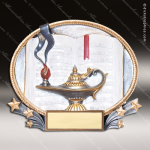 Kids Resin 3D Oval Series Lamp of Knowledge Trophy Awards School Scholastic Trophy Awards