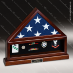 USA Engraved  Cherry Hardwood Retirement Memorial Flag Display Shadow Box Shadow Box Display Case