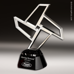 Artistic Silver Accented Chrome Pinwheel Trophy Award Silver Accented Artisitc Awards
