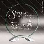 Jefferson Glass Silver Accented Circle Cosmic Trophy Award Silver Accented Glass Awards