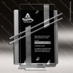 Crystal Black Accented Rectangle Nova Plaque Trophy Award Silver & Chorme Accented Crystal Awards