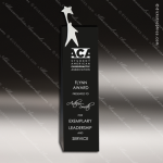 Crystal Black Accented Super Star Man Tower Trophy Award Silver & Chorme Accented Crystal Awards