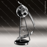 Crystal Silver Accented Globe Above & Beyond Trophy Award Silver & Chorme Accented Crystal Awards