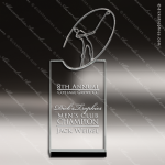 Crystal Sport  Golf Stand Up Trophy Award Silver & Chorme Accented Crystal Awards