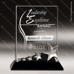 Crystal Black Accented Rectangle Star Trophy Award Silver & Chorme Accented Crystal Awards