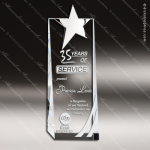 Crystal  Chrome Accented Star Tower Trophy Award Silver & Chorme Accented Crystal Awards