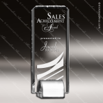 Crystal  Rectangle Chrome Base Trophy Award Silver & Chorme Accented Crystal Awards
