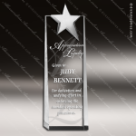 Crystal  Silver Star Tower Trophy Award Silver & Chorme Accented Crystal Awards