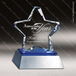Crystal Blue Accented Twinkle Star Trophy Award Silver & Chorme Accented Crystal Awards
