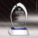 Crystal Blue Accented Flame Flare Aluminum Base Trophy Award Silver & Chorme Accented Crystal Awards