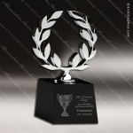 Crystal Black Accented Laurel Trophy Award Silver & Chorme Accented Crystal Awards
