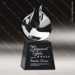 Crystal Black Accented Oasis Trophy Award Silver & Chorme Accented Crystal Awards