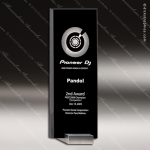 Crystal Black Accented Jet Black Tower Trophy Award Silver & Chorme Accented Crystal Awards