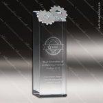 Crystal  Basic Gear Rectangle Tower Trophy Award Silver & Chorme Accented Crystal Awards