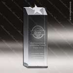 Crystal  Basic Star Rectangle Tower Trophy Award Silver & Chorme Accented Crystal Awards