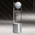 Crystal Sport Golf Pinnacle Trophy Award Silver & Chorme Accented Crystal Awards
