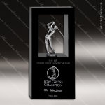 Crystal Sport Black Accented View Golf Trophy Award Silver & Chorme Accented Crystal Awards