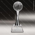 Crystal Sport Golf Chrome Stand Trophy Award Silver & Chorme Accented Crystal Awards